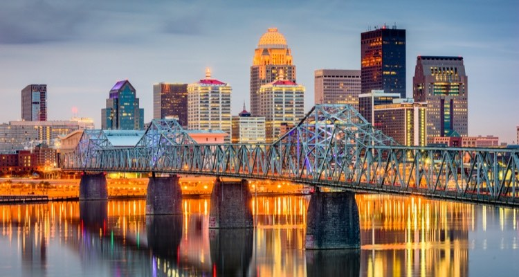 Skyline of Louisville, KY at twilight.